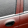 Stock Photo: Snowy car door