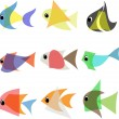 Abstract fish set — Stock Vector