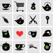 Set of black icons — Vector de stock
