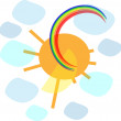 Sun with rainbow — Stock Vector