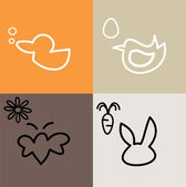 Duck, bird, butterfly and bunny — Stock Vector