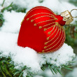 Christmas ball on snow — Foto Stock