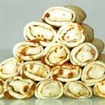 Pancakes making pyramid — Stock Photo