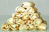 Pfannkuchen machen pyramide — Stockfoto