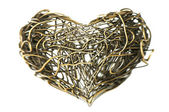 Kovové drátěné srdce — Stock fotografie