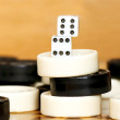 Stock Photo: Backgammon pieces pile