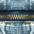 Blue jeans zipper — Stockfoto