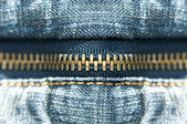 Blue jeans zipper — Stock Photo