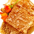 Honeycomb with honey and flowers - Stock Photo
