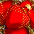 Red heart Christmas balls — Stock Photo