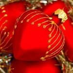 Red heart Christmas balls — Stock Photo