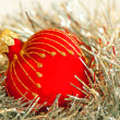 Red heart Christmas ball — Stockfoto