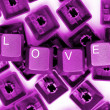 LOVE pink keys — Foto Stock