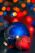 Red and Blue Christmas balls — Stock Photo