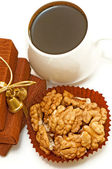 Nuts and coffee top view — Stockfoto