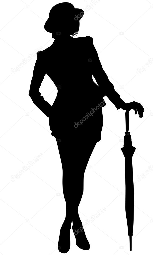 Silhouette of a woman with umbrella — Stock Vector ...  Silhouette of a...