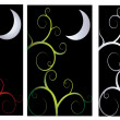 A set of dark night themed abstract backgrounds for Halloween — Stock Vector