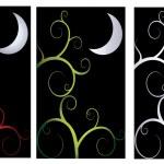 un conjunto de fondos abstractos con temática noche oscura para halloween — Vector de stock