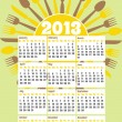 2013 diner themed calendar — Stock Vector
