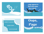 A set of humorous aquatic themed 404 pages for web developers — Stock Vector