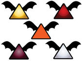 A set of alert sign icons with bat wings — Stock Vector