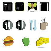 Un ensemble d'icônes de nourriture et des boissons variées — Vecteur