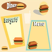 Retro themed diner and burger menu graphics — Stock Vector