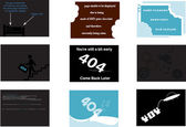 A set of themed 404 error pages for web developers — Stock Vector
