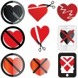 Set of images conceptualizing a no love or anti valentine sentiment — Stock Vector