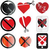 Set di immagini non concettualizzare un nessun sentimento amore o anti san valentino — Vettoriale Stock