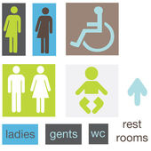 A set of restroom signs — Stock Vector