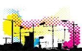 抽象的城市监控城市景观图 — 图库矢量图片
