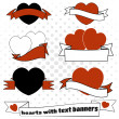 Love hearts with banners set — Stock Vector