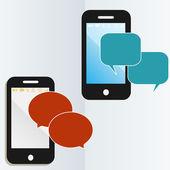 Mobile phone communication — Stock Vector