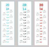 Three upright calendars for 2014 — Stock Vector