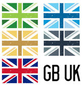 A set of 5 distressed style UK and GB flags — Stock Vector