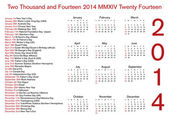 12 month 2014 calendar with holidays — Stock Photo