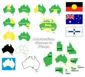 Flags, maps and states of Australia — Stock Vector