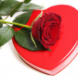 Stock Photo: Red rose with heart