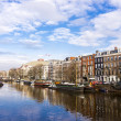 Boat in Amstel river — Stock Photo