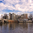 Bridge over Amstel river — Stock Photo