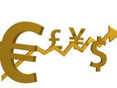 Golden money,golden arrow — Stock Photo