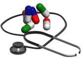 Stetoskop a prášky — Stock fotografie