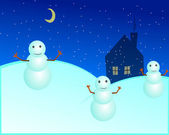 Snowman wallpaper — Stock Vector