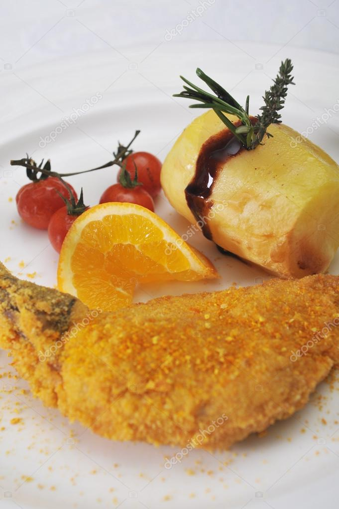 Supreme pharaohs panure with fondant potatoes with thyme and tomatoes  Stock Photo #18177967