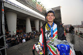 Cedric Soubeyras, european supercross champion, portrait podium — Stock Photo