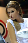 A model in a stand. EICMA fair, Milan, Italy 13-18 november 2012 — Stock Photo