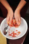 石榴果肉正在由荚 separed — 图库照片
