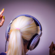 Listening to music dancing girl — Stock Photo