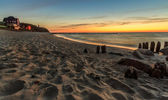 Sunset at the beach in Niechorze — Stock Photo